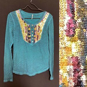 Free People sequin green long sleeve cotton top S